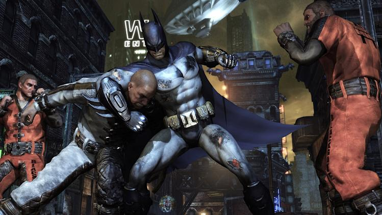 "In this video game image released by Rocksteady Studios/Warner Bros. Interactive Entertainment, a scene is shown from ""Batman: Arkham City."" (AP Photo/Rocksteady Studios/Warner Bros. Interactive Entertainment)"