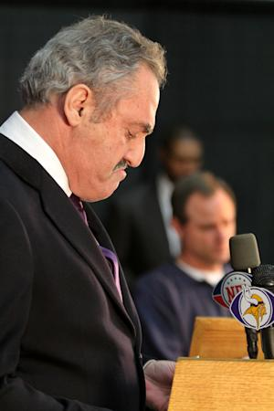 Minnesota Vikings owner Zygi Wilf talks to the media about the firing of former head coach Brad Childress and the new Vikings interim head coach Leslie Frazier at the Vikings football practice Facility in Eden Prairie, Minn. Monday, Nov. 22, 2010.(AP Photo/Andy King)