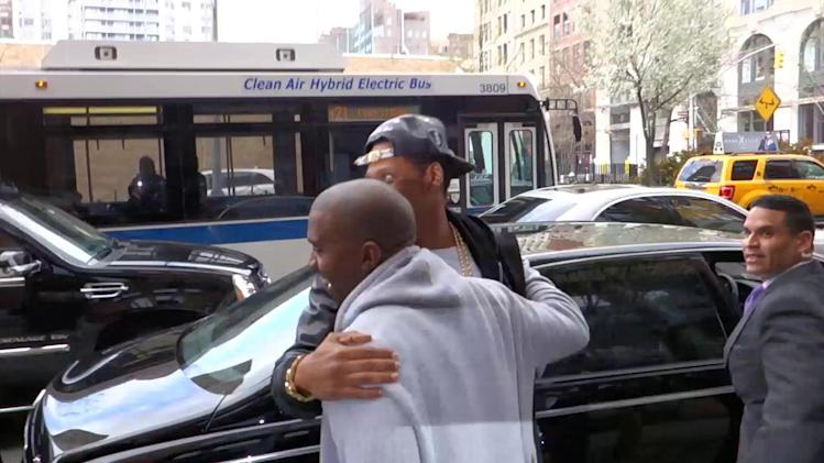 Jay-Z and Kanye West Hug it Out in New York