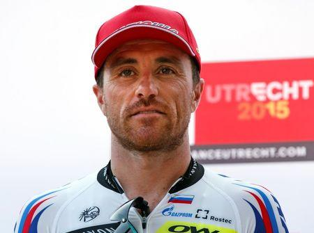 Katusha rider Paolini of Italy poses during the Tour de France cycling race presentation in Utrecht