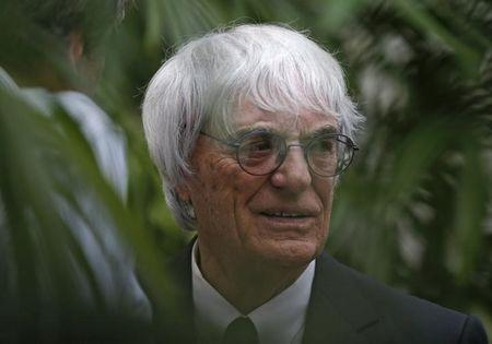 Formula One Chief Executive Bernie Ecclestone speaks to guests during a media event in Singapore