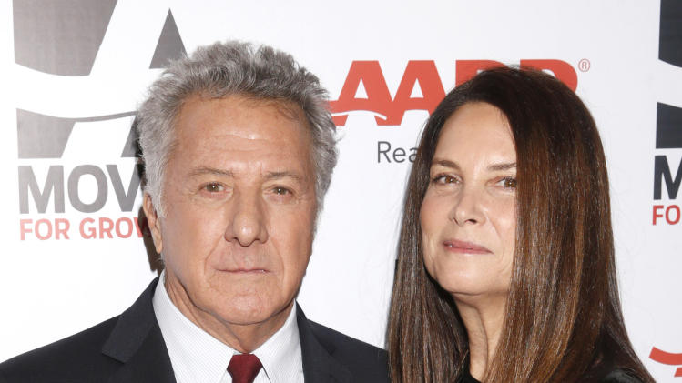 IMAGE DISTRIBUTED FOR AARP THE MAGAZINE - Dustin Hoffman, left, and Lisa Hoffman attend AARP The Magazine's 12th Annual Movies for Grownups Awards at The Peninsula Hotel on Tuesday, Feb. 12, 2013 in Beverly Hills, Calif. (Photo by Todd Williamson/Invision for AARP Magazine/AP Images)