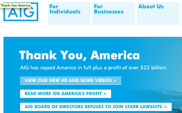 Actually, AIG Will Not Be Suing America for Bailing It Out