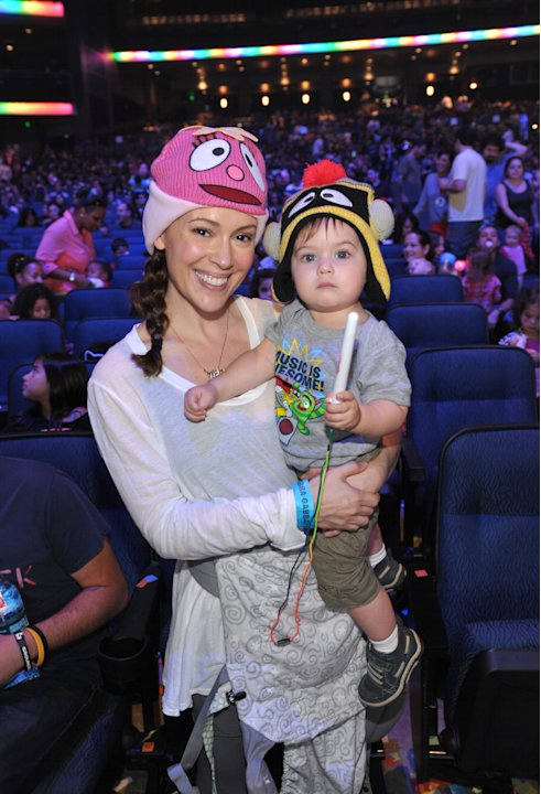 Alyssa Milano, left, and son Milo Bugliari attend Yo Gabba Gabba! Live!: Get The Sillies Out! 50+ city tour kick-off performance on Thanksgiving weekend at Nokia Theatre L.A. Live on Friday Nov. 23, 2