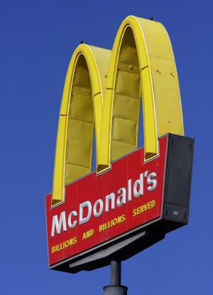 FILE - This Oct 21, 2008, file photo, shows a McDonald's logo at a McDonald's restaurant in Springfield, Ill. (AP Photo/Seth Perlman, File)