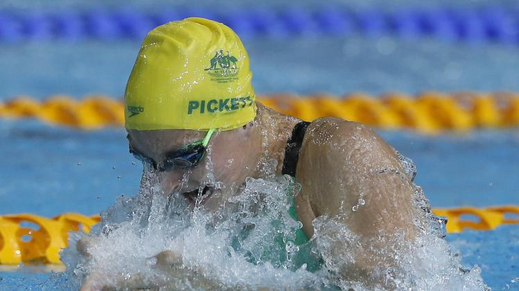 Pickett of Australia swims in the women's 50m Breaststroke final during the 2014 Commonwealth Games in Glasgow