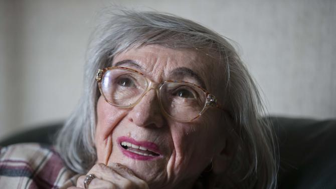 """One of the food testers of Adolf Hitler, Margot Woelk speaks during an interview with The Associated Press in Berlin, Thursday, April 25, 2013. Margot Woelk was one of 15 young women who sampled Hitler's food to make sure it wasn't poisoned before it was served to the Nazi leader in his """"Wolf's Lair,"""" the heavily guarded command center in what is now Poland, where he spent much of his time in the final years of World War II. Margot Woelk kept her secret hidden from the world, even from her husband then, a few months after her 95th birthday, she revealed the truth about her wartime role. (AP Photo/Markus Schreiber)"""