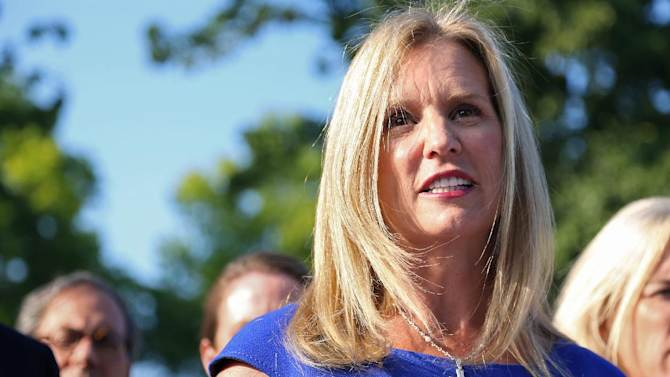 FILE - In this Tuesday, July 17, 2012 file photo, Kerry Kennedy, ex-wife of New York Gov. Andrew Cuomo, speaks after she appeared at the North Castle Justice Court in Armonk, N.Y.  A court document says the drug found in Ambien sleeping pills was found in Kerry Kennedy's blood after her recent New York auto accident.  (AP Photo/Craig Ruttle, File)