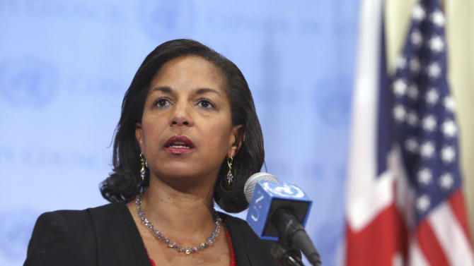 """In this June 25, 2013 photo provided by the United Nations, outgoing U.S. Ambassador Susan Rice speaks to reporters at her final news conference at the U.N. headquarters. Rice, who will start her new job as U.S. national security adviser on July 1, said the U.N. Security Council's failure to take action to stop the conflict in Syria is """"a moral and strategic disgrace that history will judge harshly."""" (AP Photo/United Nations Photo, Devra Berkowitz)"""