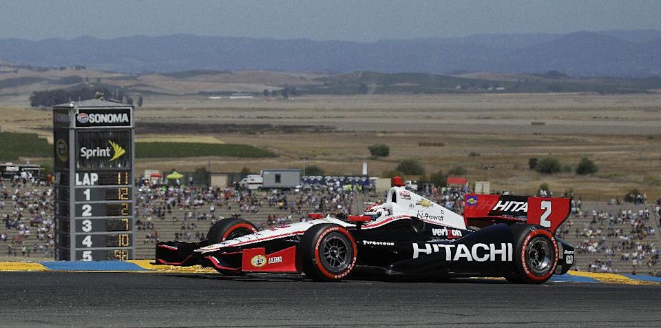 Ryan Briscoe, of Australia, drives during the IndyCar Series auto race on Sunday, Aug. 26, 2012, in Sonoma, Calif. (AP Photo/Ben Margot)
