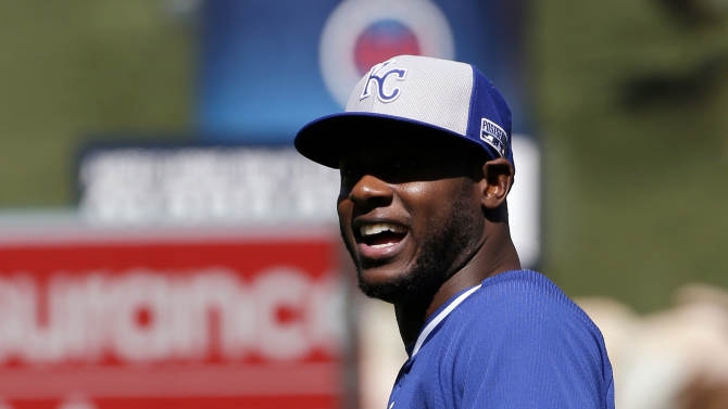 Kansas City Royals center fielder Lorenzo Cain warms up during batting practice in Anaheim, Calif., Wednesday, Oct. 1, 2014. The Los Angeles Angels play Game 1 of the best-of-five AL Division Series against the Kansas City Royals on Thursday. (AP Photo/Chris Carlson)