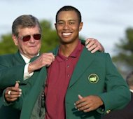 &lt;p&gt;File photo shows Tiger Woods (R) receiving his green jacket from Augusta&#39;s chairman Hootie Johnson in 2002 after winning his second straight Masters Tournament. Former chairman Johnson once said Augusta National wouldn&#39;t admit women &quot;at the point of a bayonet&quot;.&lt;/p&gt;