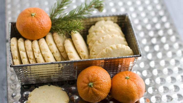 In this image taken on Monday, Nov. 5, 2012, tangerine mace shortbread cookies are shown in Concord, N.H. (AP Photo/Matthew Mead)