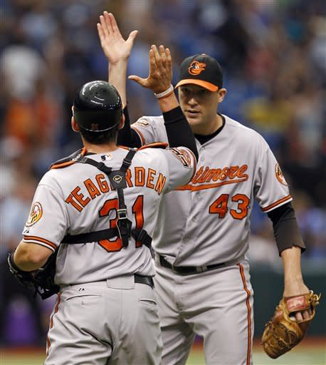 Teagarden's double in 10th leads Os over Rays 1-0