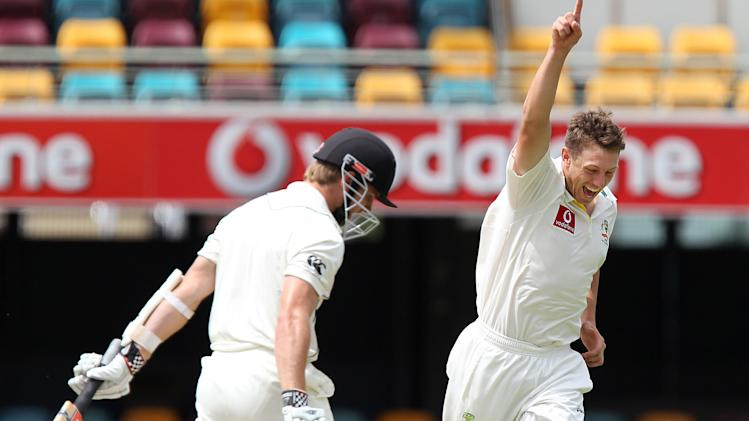 Australia's James Pattinson, right, celebrates getting the wicket of New Zealand's Kane Williamson, left, during the 4th day of the first cricket test  between Australia and New Zealand at the Gabba in Brisbane, Australia, Sunday, Dec.4, 2011. (AP Photo/Tertius Pickard)