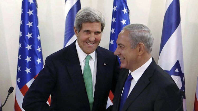 US Secretary of State John Kerry and Israeli Prime Minister Benjamin Netanyahu in Jerusalem on September 15, 2013
