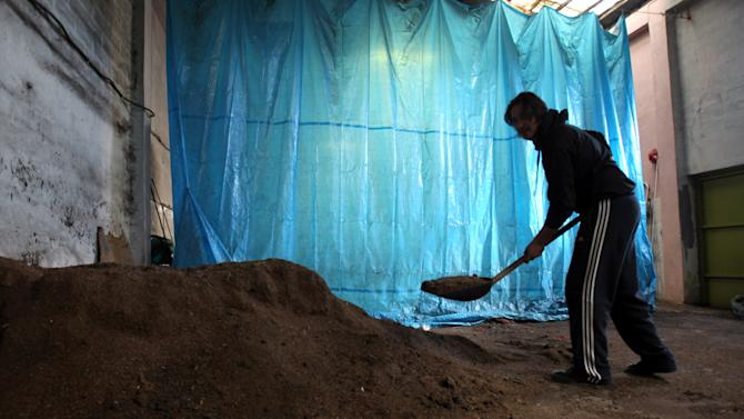 In this picture taken on Dec. 29, 2012, oil-press owner Socratis Simeonidis shovels olive pits which he then compacts for sale as heating fuel in the northern village of Neo Petritsi, about 110 kilometers north-east of Thessaloniki, Greece. A steep increase in heating costs has forced many in crisis-hit Greece to switch from heating oil to wood-burning for warmth. But there's a catch. Illegal loggers are slashing through forests devastated by years of summer wildfires, air pollution from wood smoke is choking the country's main cities and there has been an increase in blazes caused by carelessly attended woodstoves. (AP Photo/Nikolas Giakoumidis)