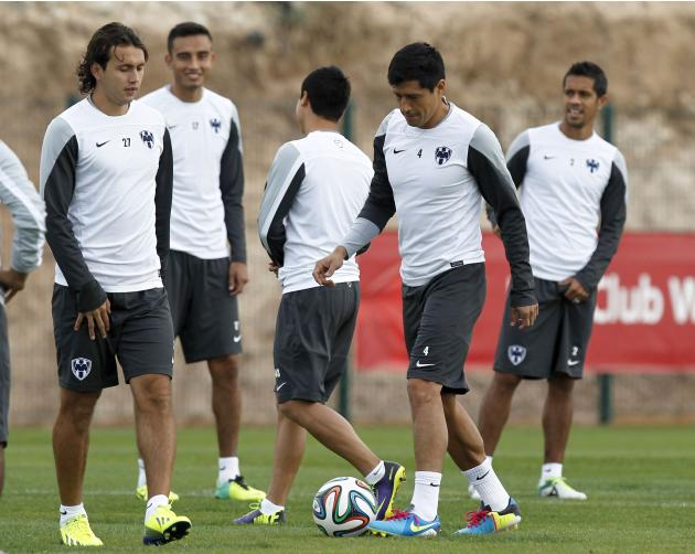 Arellano and Osorio of CF Monterrey take part in a training session in Agadir