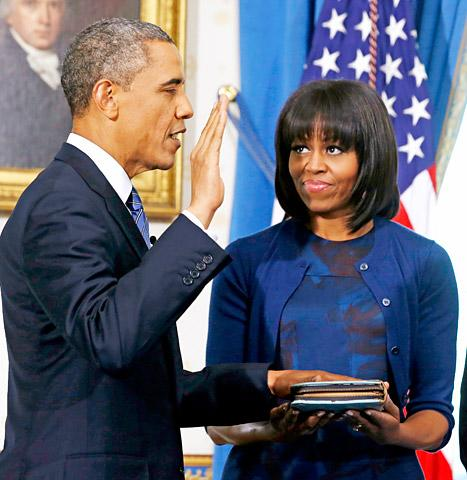"President Barack Obama Calls Michelle Obama's New Bangs the ""Most Significant"" Event of Inauguration"