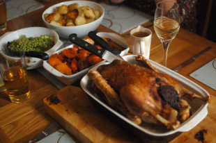 Roast goose is all dark meat, meaning it's significantly fattier than other holiday birds