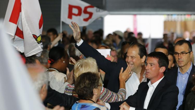 "French Prime Minister Valls and French Socialist Party head Cambadelis, attend the Socialist Party's ""Universite d'ete"" summer meeting in La Rochelle"