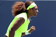 Serena Williams celebrates winning the first set against Coco Vandeweghe during the final of the Bank of the West Classic at Stanford University Taube Family Tennis Stadium in Stanford, California. Serena became the first woman since 2006 to back up a title at the WTA Stanford event as the five-time Wimbledon winner defeated lucky loser Coco Vandeweghe 7-5, 6-3 on Sunday