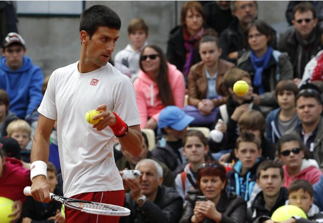 Djokovic of Serbia attends a training session for the French Open tennis tournament at the Roland Garros stadium in Paris