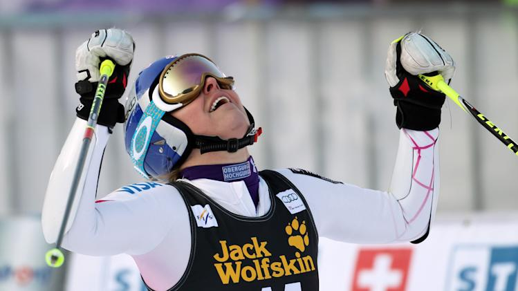 Lindsey Vonn, of the United States, celebrates at finish line after winning an alpine ski, women's World Cup giant slalom, in Maribor, Slovenia, Saturday, Jan. 26, 2013. (AP Photo/PierMarco Tacca)
