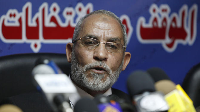 "FILE - In this Saturday, Oct. 9, 2010 file photo, Mohammed Badie speaks during a press conference at the group's parliamentary office in Cairo, Egypt. A leading Jewish organization is calling Saturday, Oct. 13, 2012 on the White House to cut contacts with Egypt's most powerful political movement, the Muslim Brotherhood, over anti-Semitic remarks attributed to its spiritual guide. Mohammed Badie said that Jews were spreading ""corruption,"" had slaughtered Muslims and profaned holy sites, according to comments published on the group's website and emailed to reporters. He further called on Muslims to fight Israel, saying Zionists only understood force. (AP Photo/Nasser Nasser, File)"