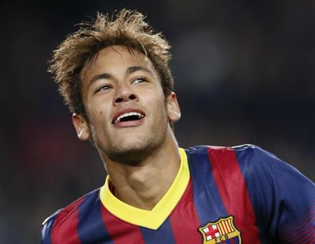 Neymar comemora gol do Barcelona contra o Celtic
