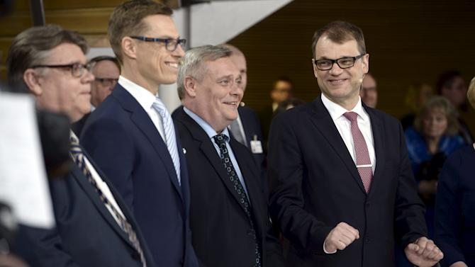 Soini, Stub, Rinne and Sipila attend a reception in Helsinki
