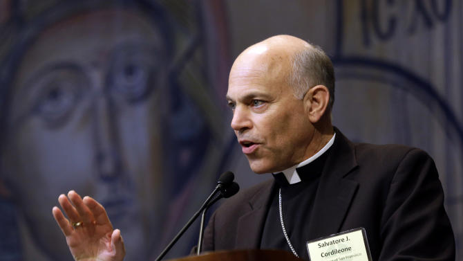 Archbishop Salvatore Cordileone, of San Francisco, addresses the United States Conference of Catholic Bishops on the Church's activities to promote the defense of marriage at the group's annual fall meeting in Baltimore, Monday, Nov. 12, 2012. (AP Photo/Patrick Semansky)
