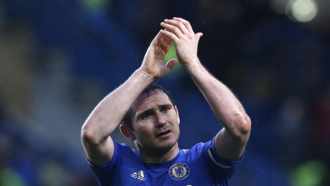 Chelsea's Frank Lampard reacts at the end of their English Premier League soccer match against West Ham United at Stamford Bridge, London, Sunday, March 17, 2013. (AP Photo/Sang Tan)