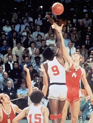 MUNICH, GERMANY - SEPTEMBER 10: USA Basketball team battles for the tip off against the Russia basketball team on September 10, 1972 in Munich, Germany. The Russia won this controversial game 51 to 50 after being given extra time to get a final shot off. It was the first loss in USA Basketball history. (Photo by Getty Images)