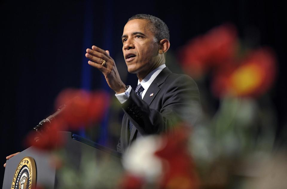 President Barack Obama speaks at the 113th National Convention of the VFW in Reno, Nev., Monday, July 23, 2012. (AP Photo/Susan Walsh)