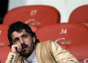 Injured FC Sion player Gattuso sits in the tribune before the start of the second half of their Swiss Super League soccer match against Grasshopper in Sion