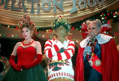 Martha May Whovier ( Christine Baranski ), The Grinch ( Jim Carrey ) and Mayor May Who ( Jeffrey Tambor ) in Universal's Dr. Seuss' How The Grinch Stole Christmas