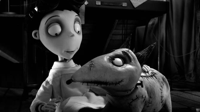 """This undated publicity photo released by Disney shows Victor Frankenstein, voiced by Charlie Tahan, with Sparky, in a scene from """"Frankenweenie."""" Burton's boy-and-his-dead-dog tale """"Frankenweenie"""" is Hollywood's latest resurrection of stop-motion animation, a century-old style that still creeps on to the big-screen now and then in an age of computer-generated cartoon blockbusters. (AP Photo/Disney, File)"""