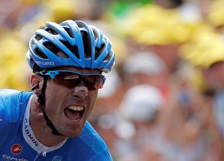 Garmin-Sharp rider Millar of Britain reacts on the finish line as he wins the 12th stage of the 99th Tour de France cycling race between Saint-Jean-de-Maurienne and Annonay-Davezieux