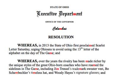 Ohio governor bans khakis, the letter M before Ohio State vs. Michigan game