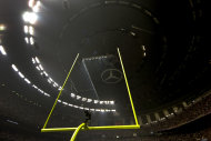 <p>               A power outage affects about half the lights in the Superdome during the second half of the NFL Super Bowl XLVII football game between the San Francisco 49ers and the Baltimore Ravens, Sunday, Feb. 3, 2013, in New Orleans. (AP Photo/Dave Martin)