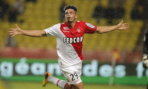 Monaco's Emmanuel Riviere of France reacts after scoring the first goal during the French League One soccer match against Bastia in Monaco stadium,Wednesday, Sept, 25, 2013
