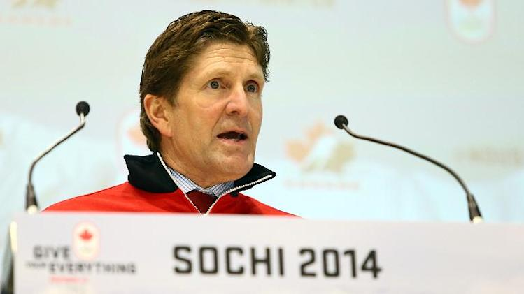 Head coach Mike Babcock speaks during the announcement of the Canadian Men's Olympic Hockey team on January 7, 2014 in Toronto