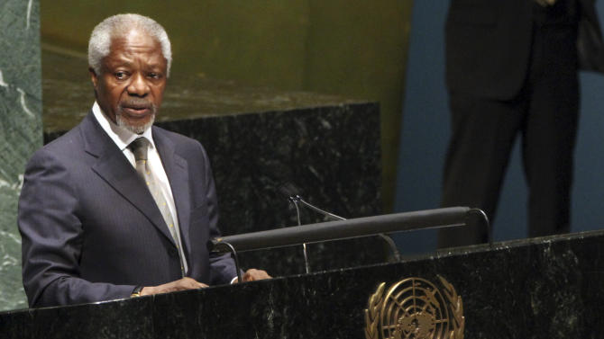 United Nations-Arab League special envoy to Syria Kofi Anan addresses the United Nations General Assembly on the situation in the Syrian Arab Republic, Thursday, June 7, 2012 at United Nations headquarters.  (AP Photo/Mary Altaffer)