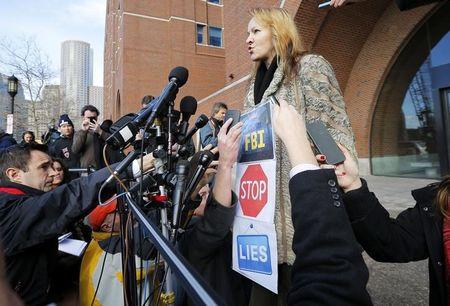 Elena Teyer speaks to reporters following a pre-trial conference for Boston Marathon bombing suspect Dzhokhar Tsarnaev at the federal courthouse in Boston