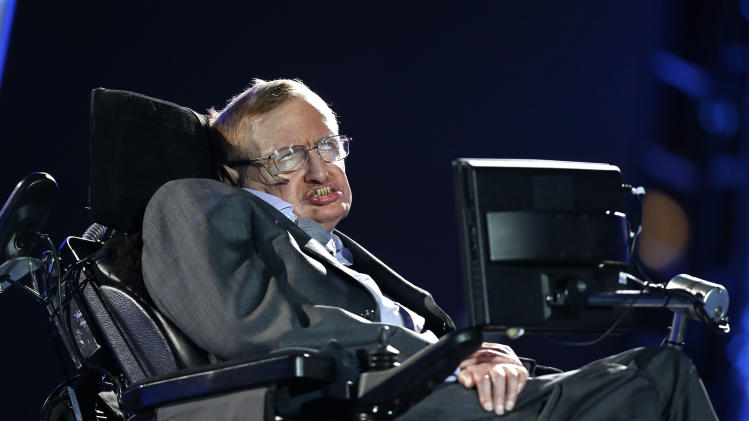 British physicist, Professor Stephen Hawking speaks during the Opening Ceremony for the 2012 Paralympics in London, Wednesday Aug. 29, 2012.  (AP Photo/Matt Dunham)