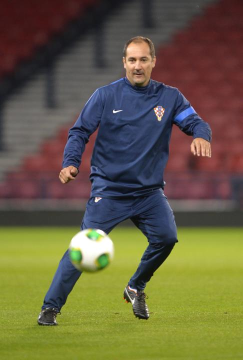 Croatia's manager Igor Stimac participates in a training session, ahead of their 2014 World Cup qualifying match against Scotland on Tuesday, at Hampden Park stadium