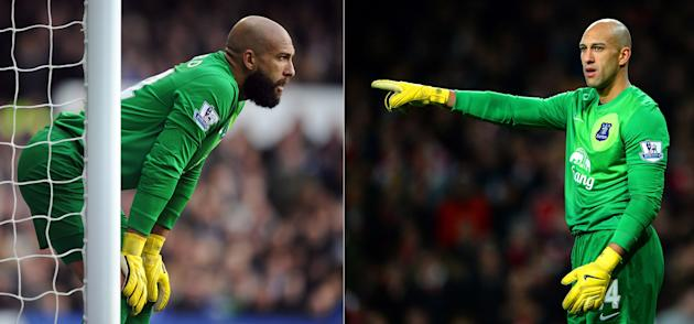 Everton Goalkeeper Tim Howard With And Without A Beard