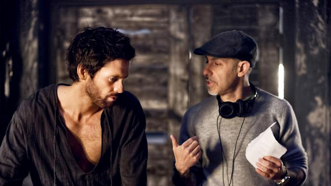 "This publicity image released by Starz shows actor Tom Riley, left, and creator David S. Goyer on the set of ""Da Vinci's Demons,"" premiering Friday, April 12 at 10 p.m. EST on Starz. (AP Photo/Starz Entertainment, LLC, Joss Barratt)"