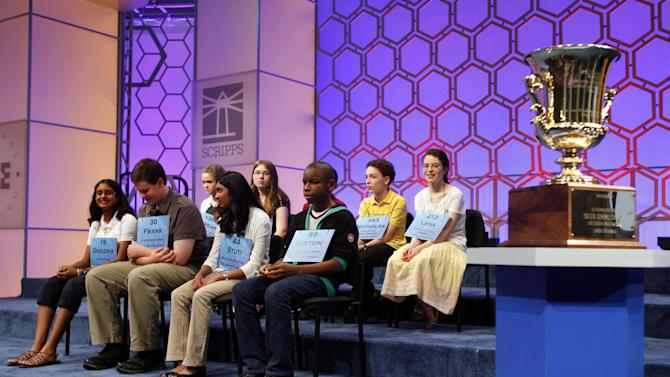 The nine finalists prepare to compete in the finals of the National Spelling Bee in Oxon Hill, Md., on Thursday, May 31, 2012. (AP Photo/Jacquelyn Martin)